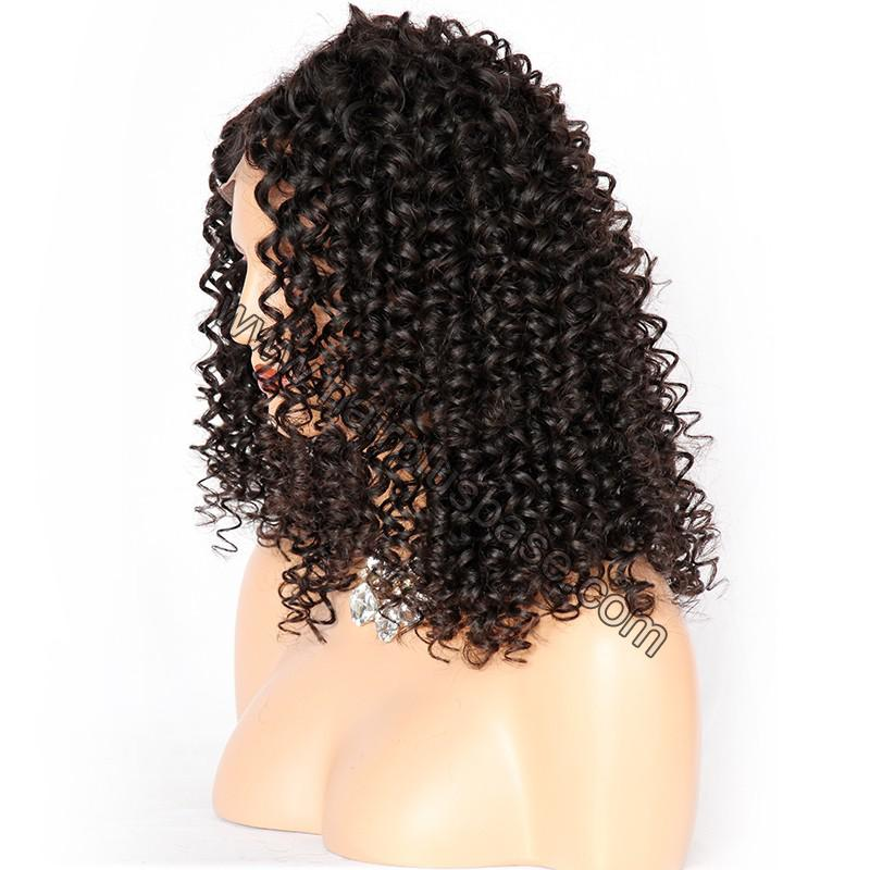 Curly Lace Front Wigs Indian Remy Hair, Natural Color 6