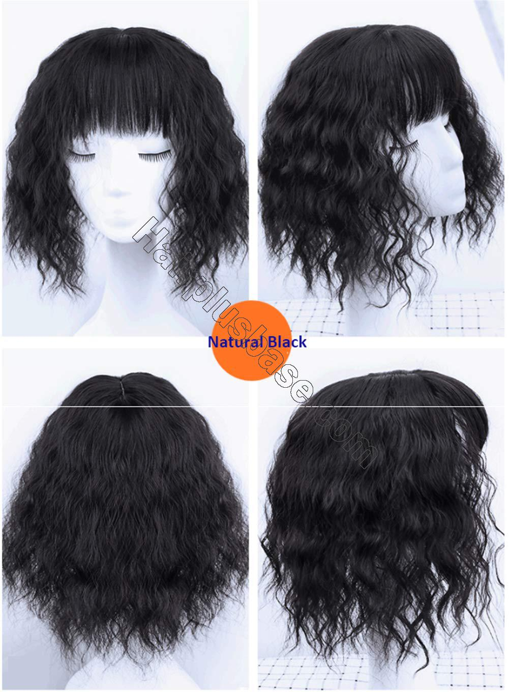 Curly Synthetic Hair Crown Toppers with Bangs for Women with Thinning Hair, 14 Inch Clip in Crown Hair Pieces, Natural Black 2