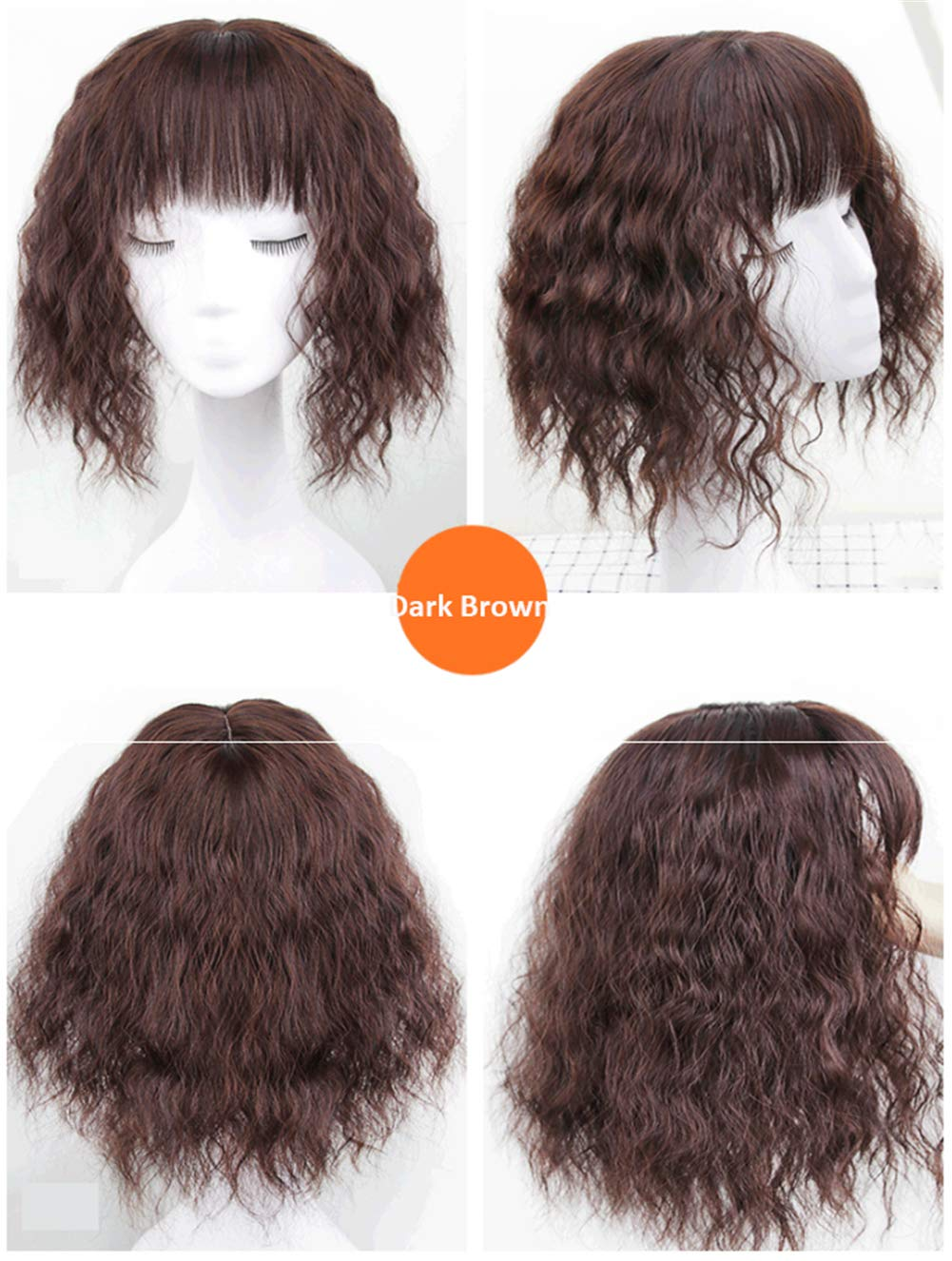 """Curly Synthetic Hair Crown Toppers with Bangs for Women with Thinning Hair, 14"""" Clip in Crown Hair Pieces, Natural Black 3"""