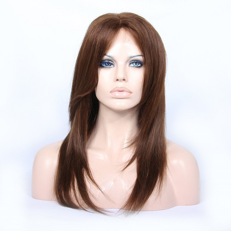 Customized Lace Front Wigs Brazilian Virgin Human Hair Natural Straight #4 Color
