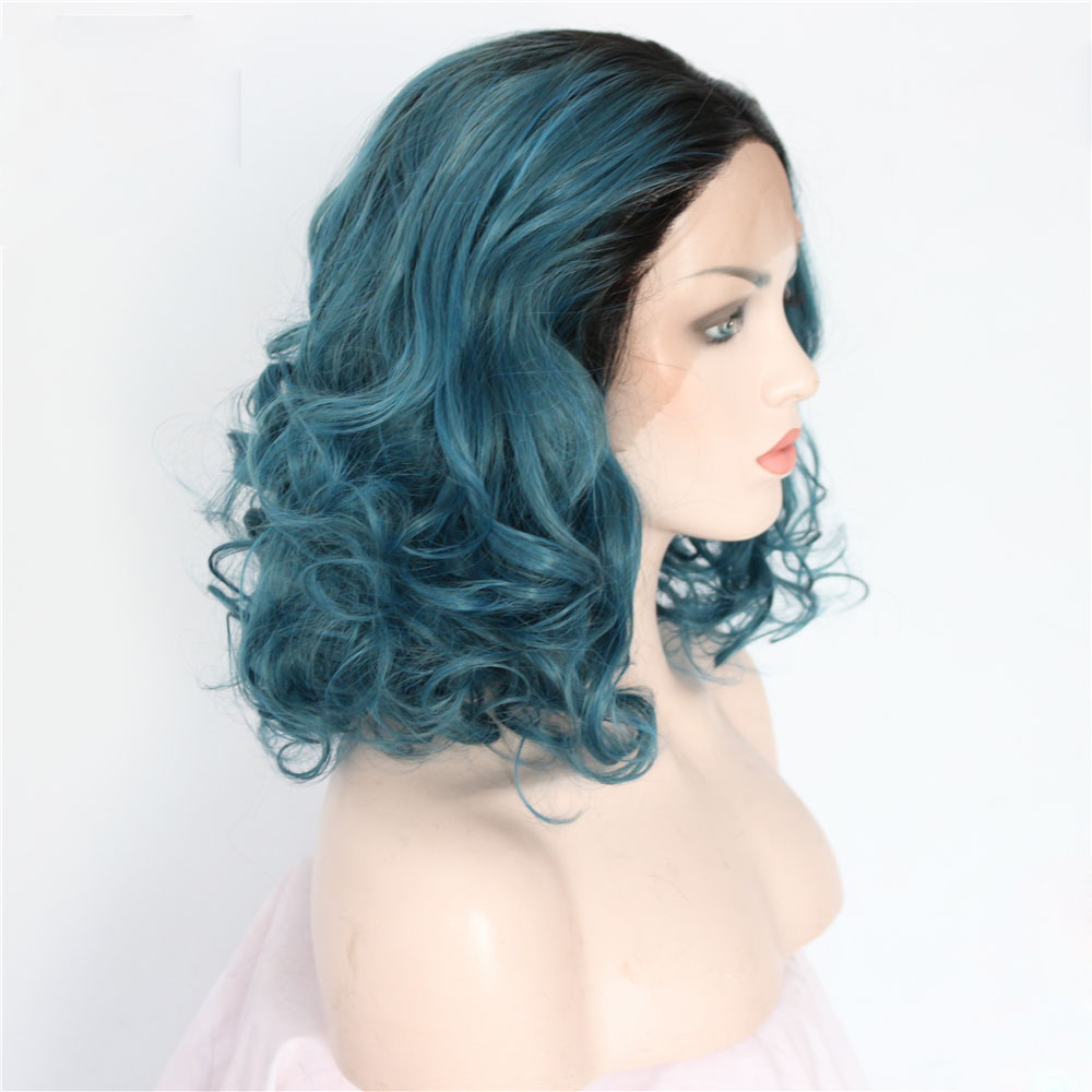 Dark Boots Blue Curly Bob Synthetic Lace Front Wig 1