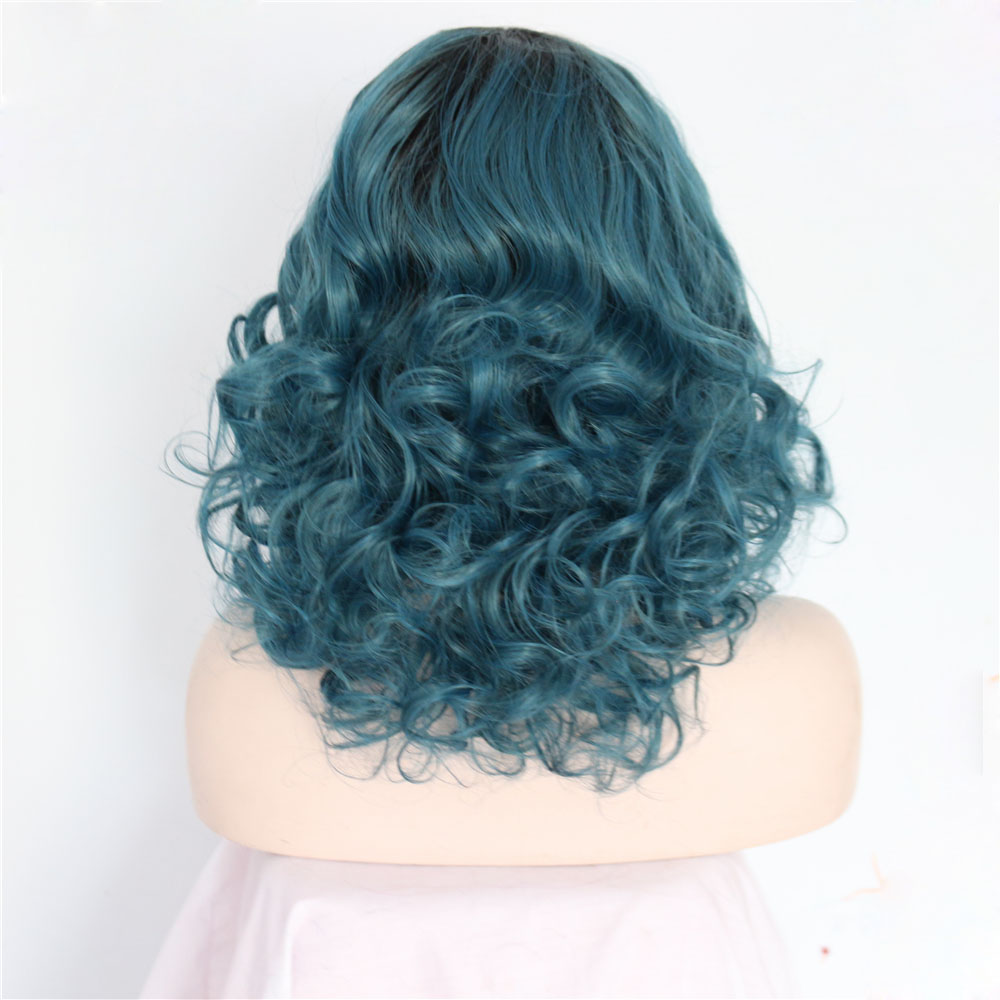 Dark Boots Blue Curly Bob Synthetic Lace Front Wig 2