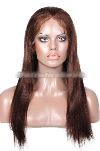18 Inch Brown #4 Light Yaki Indian Remy Hair Full Lace Wigs