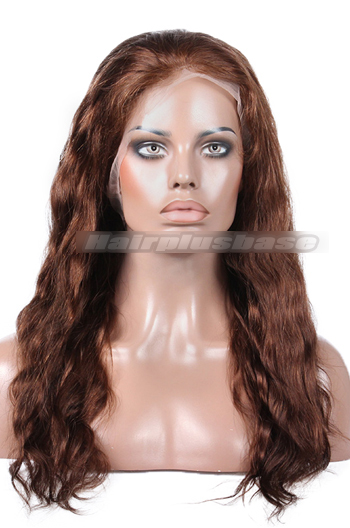 18 Inch Brown #4 Natural Wave Indian Remy Hair Full Lace Wigs