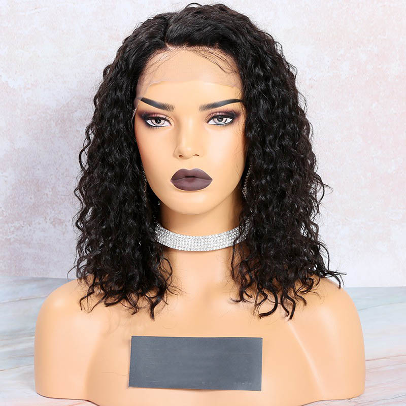 Deep Curl Bob Cut Lace Front Wigs, Indian Remy Hair, Deep  Curl, 12 Inches, 150% Density
