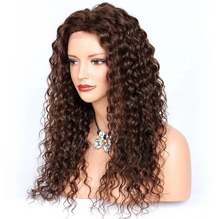 Deep Curly Lace Front Wigs Indian Remy Hair,  #4 Color