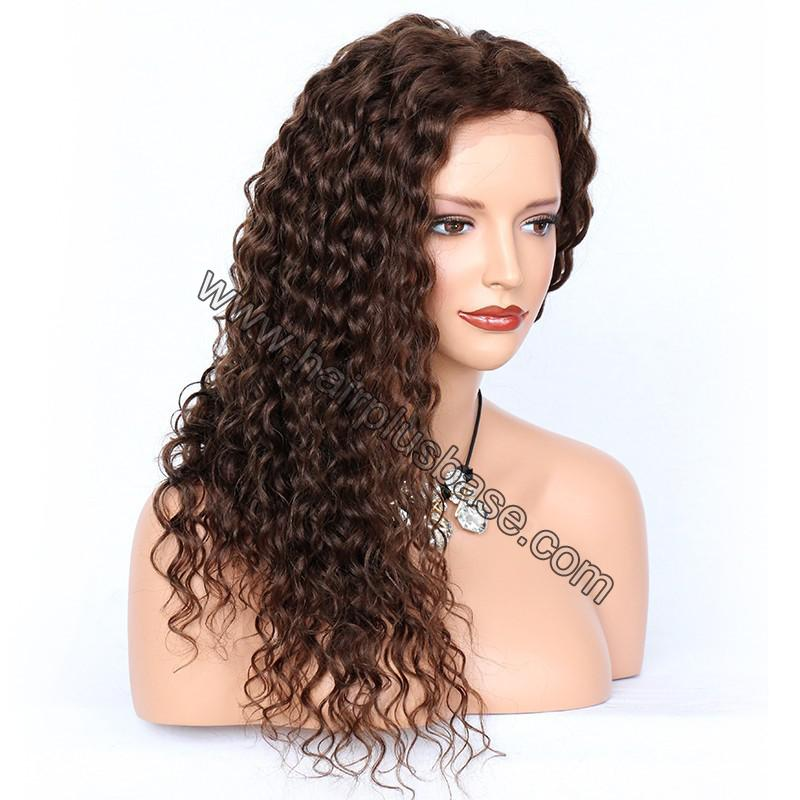 Deep Curly Lace Front Wigs Indian Remy Hair,  #4 Color 1