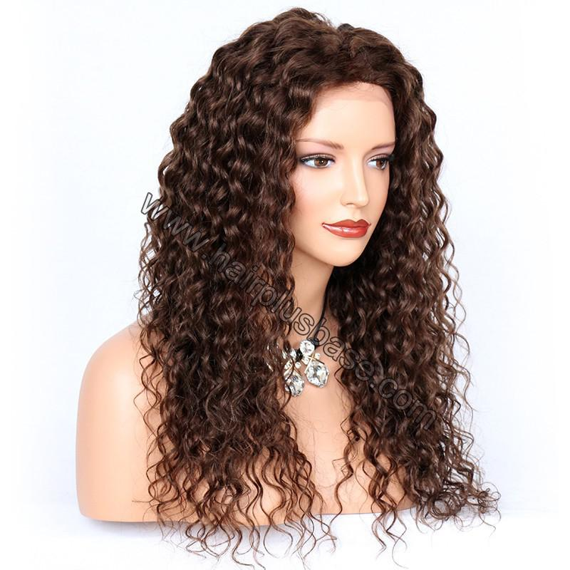 Deep Curly Lace Front Wigs Indian Remy Hair,  #4 Color 2