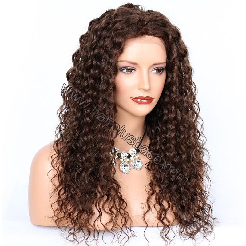 Deep Curly Lace Front Wigs Indian Remy Hair,  #4 Color 3
