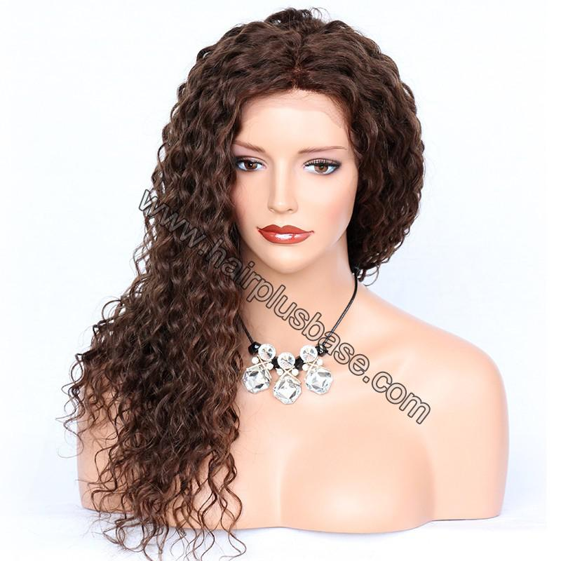 Deep Curly Lace Front Wigs Indian Remy Hair,  #4 Color 4