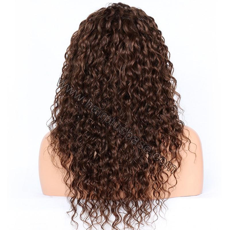 Deep Curly Lace Front Wigs Indian Remy Hair,  #4 Color 5