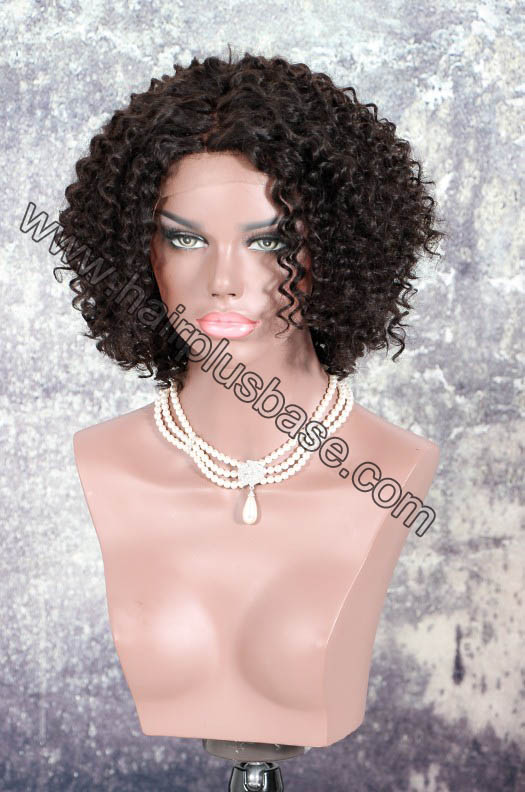 Deep Left Part Lace Front Wigs Permanent Afro Curl Bob Wig Indian Remy Hair 0