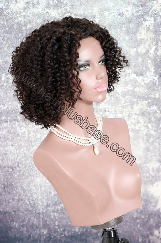 Deep Left Part Lace Front Wigs Permanent Afro Curl Bob Wig Indian Remy Hair 2