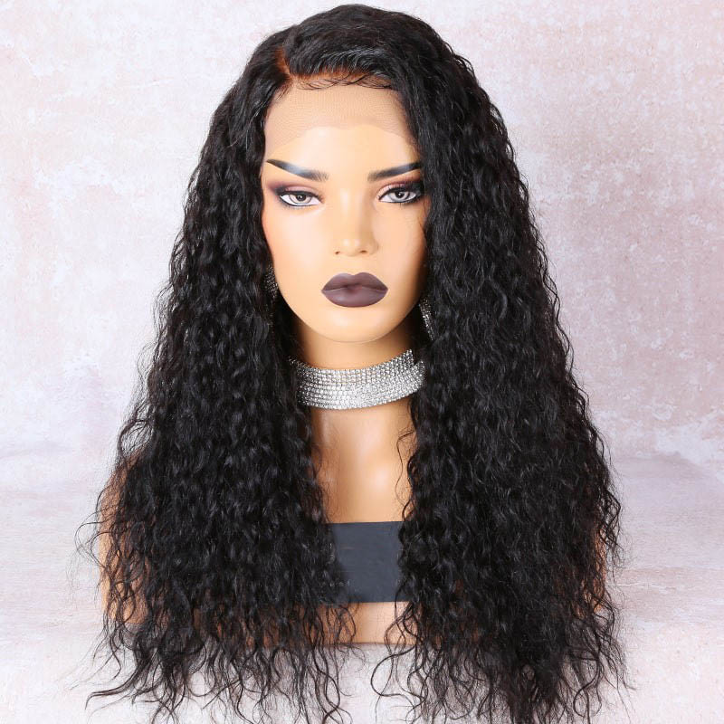 Deep Right Part Lace Front Wigs Indian Remy Hair Permanent Loose Curl Bob Wig