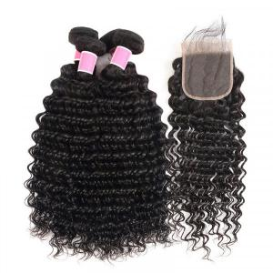 Deep Wave Brazilian Hair 4 Bundles with 4×4 Lace Closures
