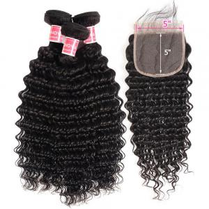 Deep Wave Hair 3 Bundles With 5*5 Inch Lace Closure Virgin Hair