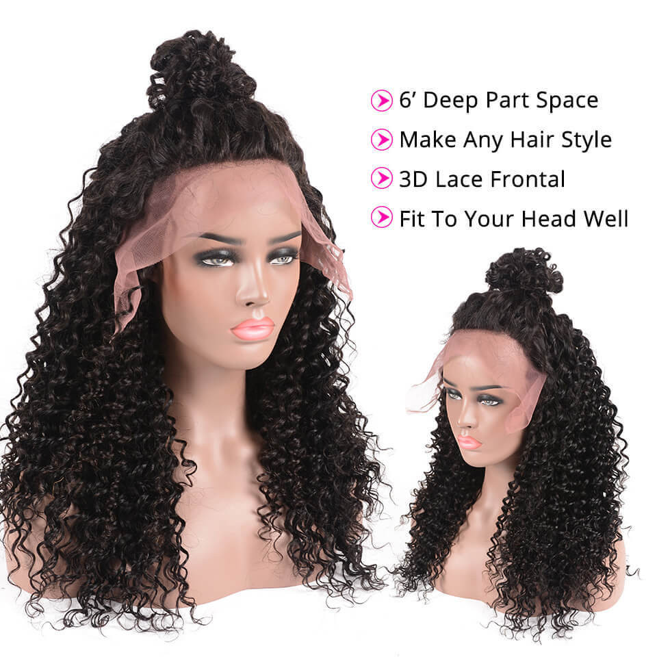 Deep Wave Human Hair Glueless 13*6 Lace Front Wigs With Baby Hair 3