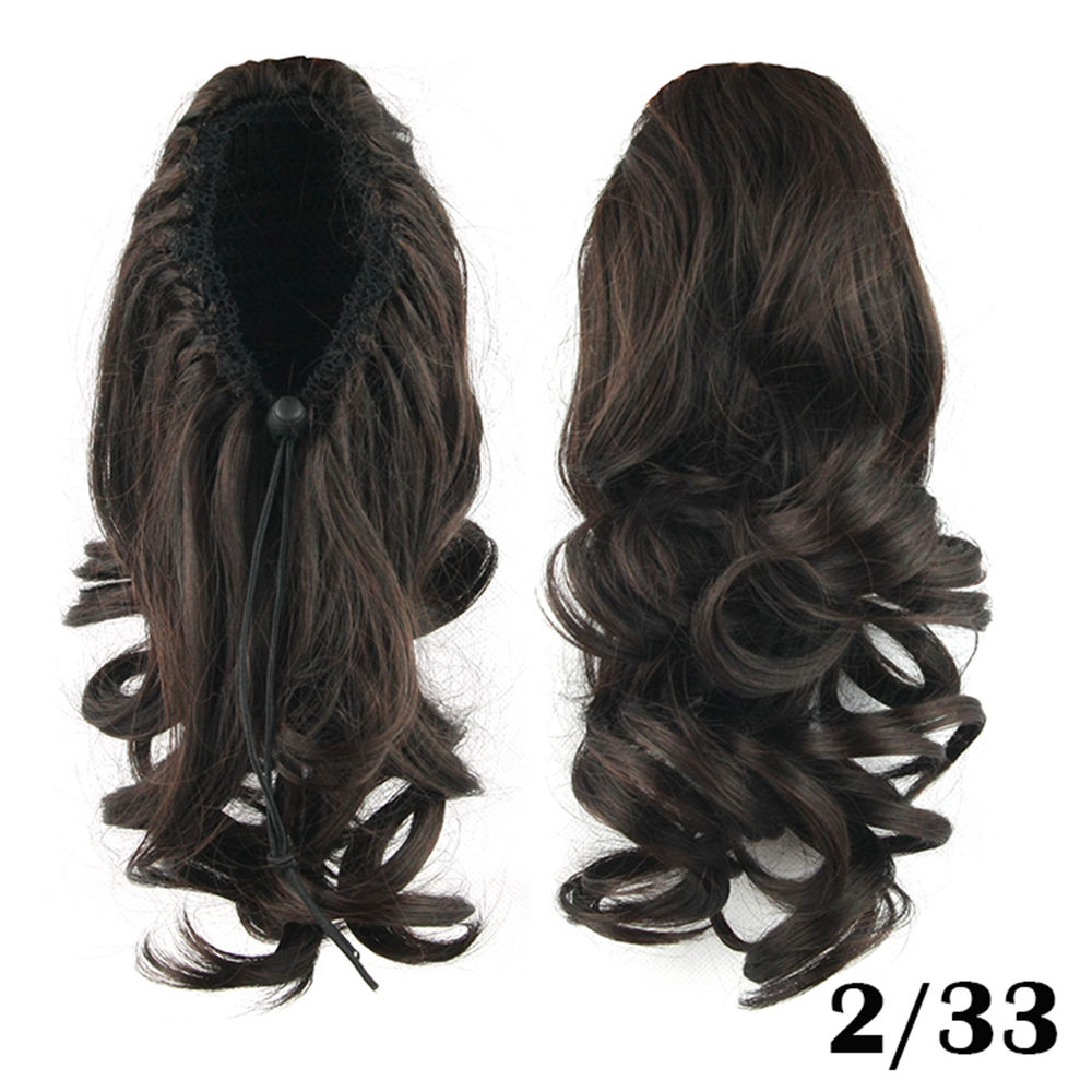 Drawstring Ponytail Clip In Hair Extensions Body Wave For Women 2