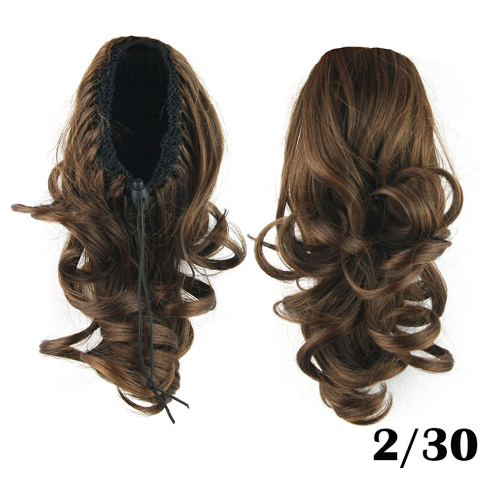 Drawstring Ponytail Clip In Hair Extensions Body Wave For Women 3