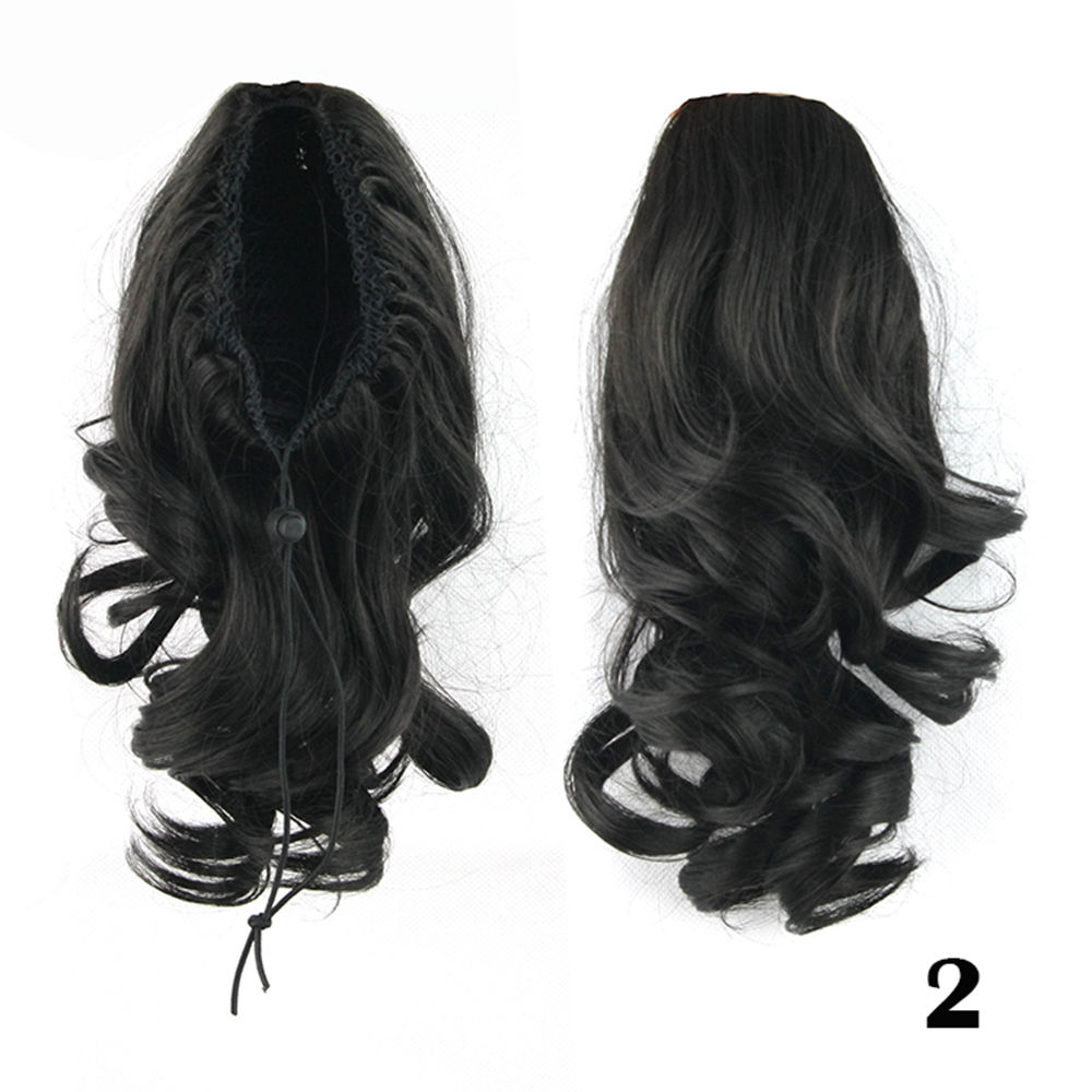 Drawstring Ponytail Clip In Hair Extensions Body Wave For Women 4