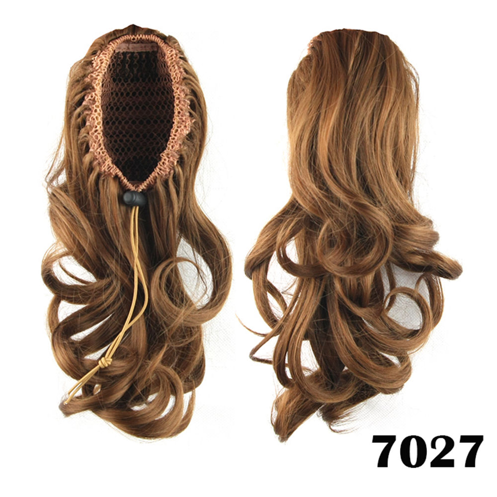 Drawstring Ponytail Clip In Hair Extensions Body Wave For Women 8