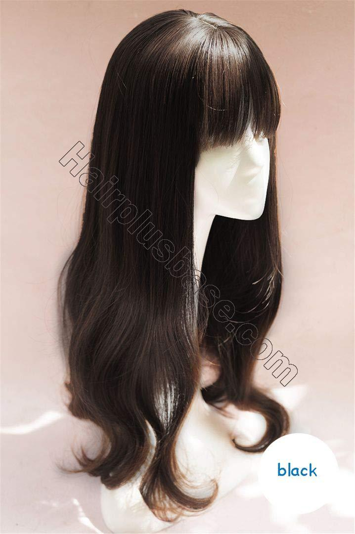 Elegant Long Body Wave Hair Toppers with Bangs Clip in Crown Hair Pieces for Women 2