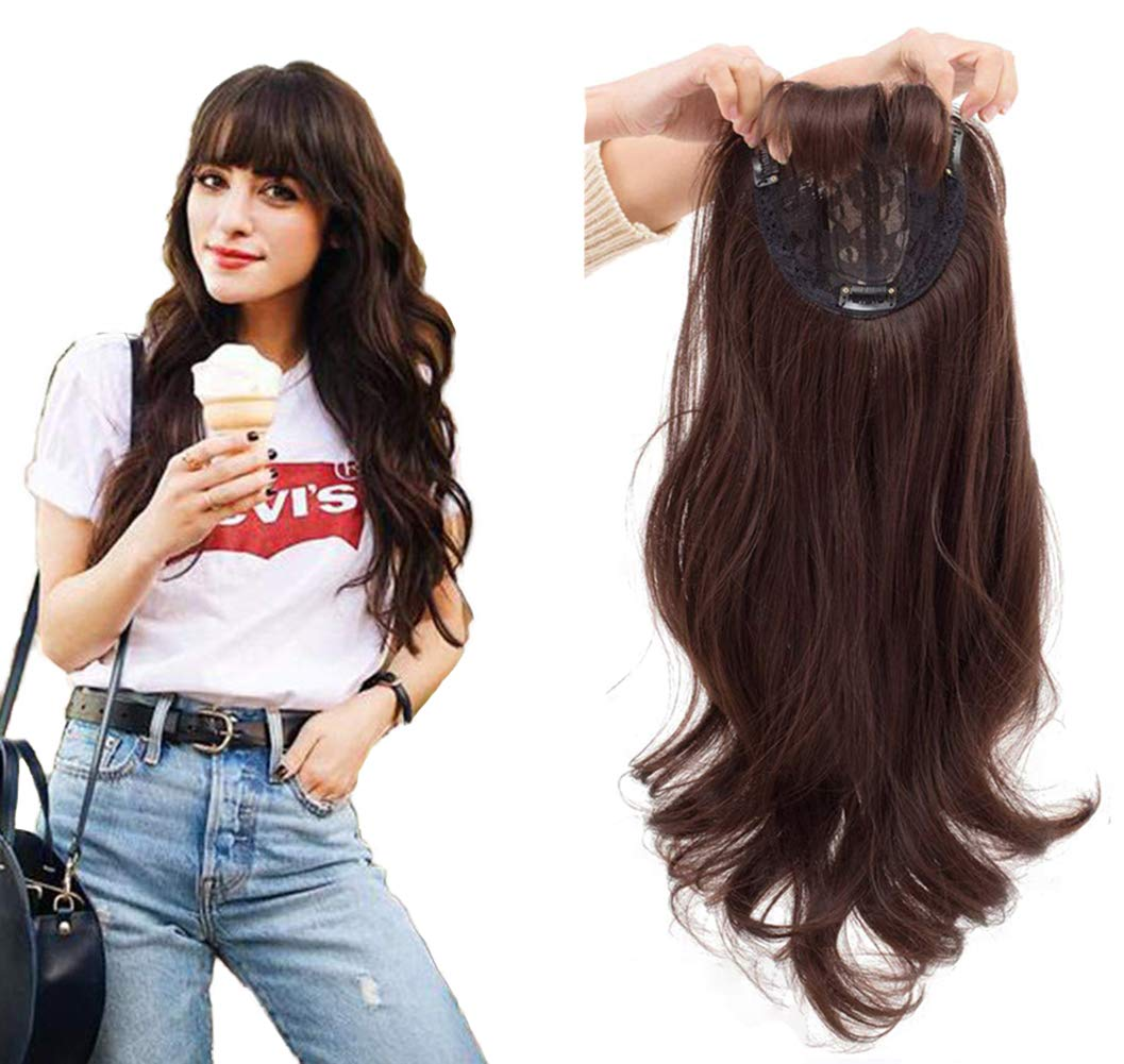 Elegant Long Body Wave Hair Toppers with Bangs Clip in Crown Hair Pieces for Women