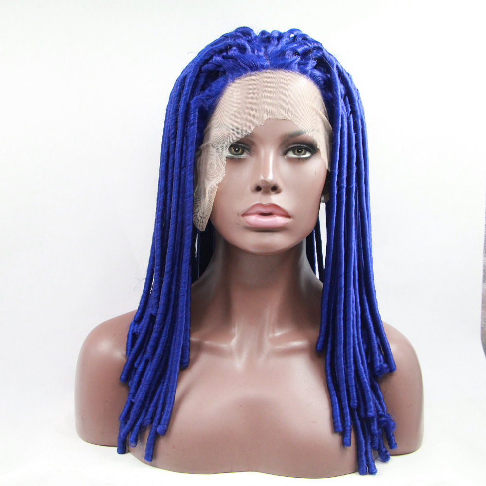 Fashion Blue Afro Curly Long Synthetic Lace Front Wig
