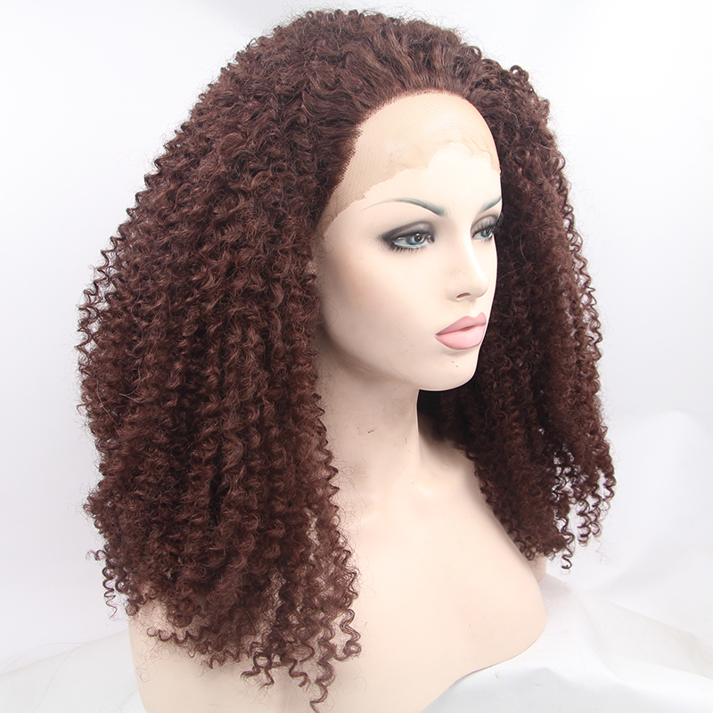 Fashion Brown Afro Curly Synthetic Lace Front Wig