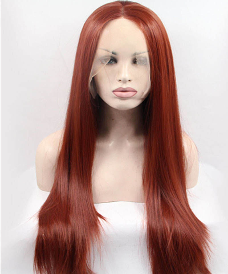 Fashion Brown Straight Synthetic Lace Front Glueless Wigs