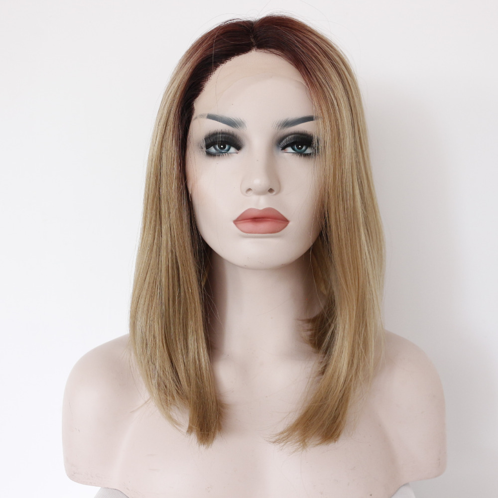 Fashion Glueless Ombre Dark Brown To Blonde Bob Lace Front Wig
