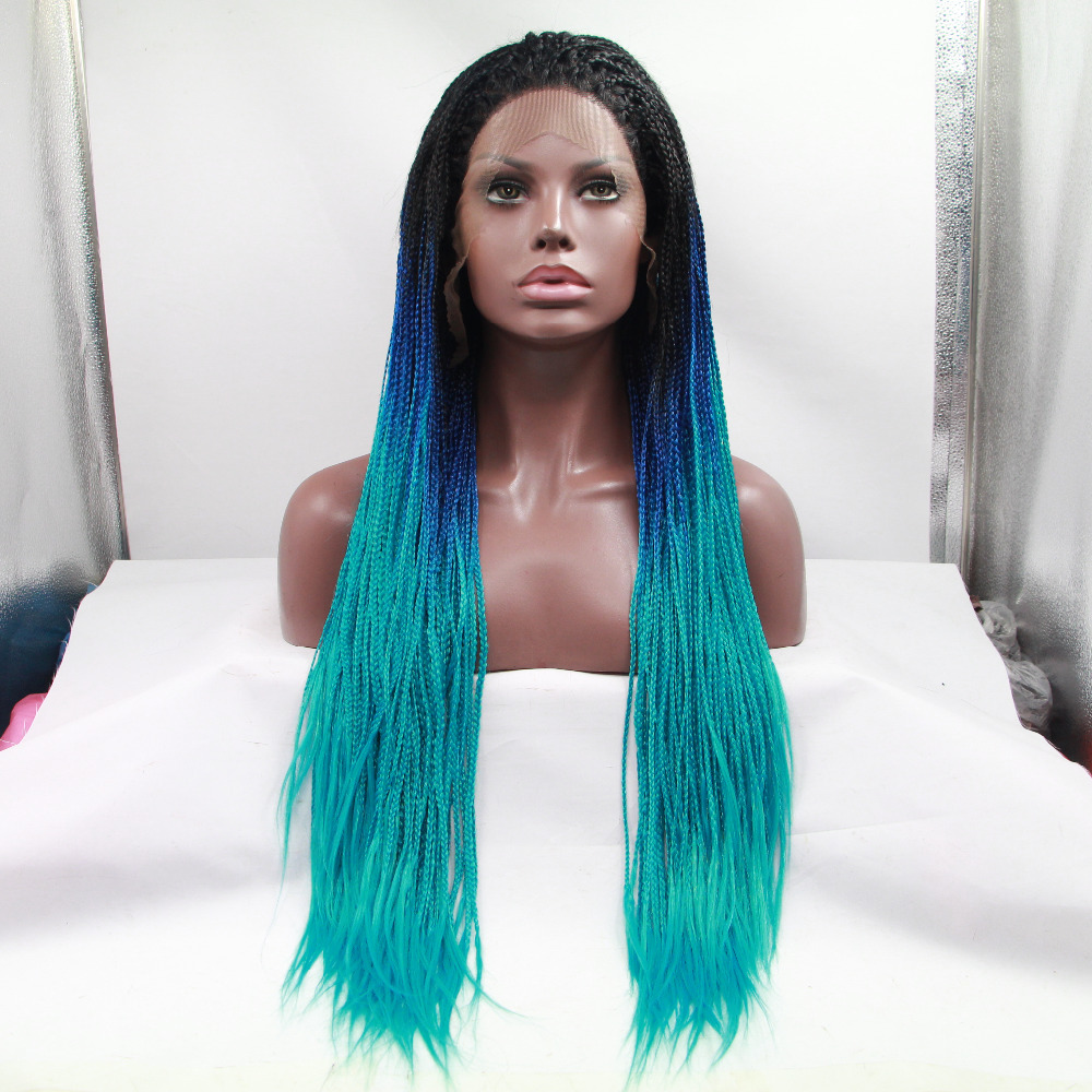 Fashion Long Blue Ombre Braided Lace Front Wig For Black Women