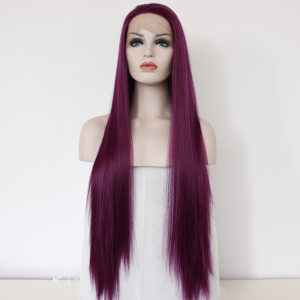 Fashion Violet Sleek Lace Front Wig for Women