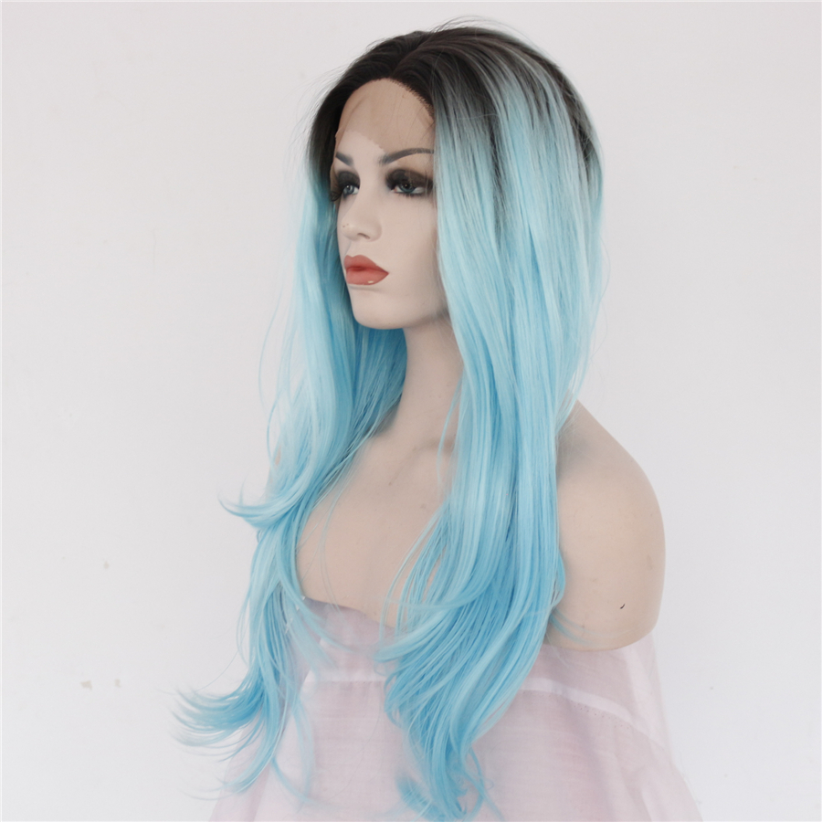 Fashion Women Dark Roots Ombre Sky Blue Synthetic Lace Front Wigs