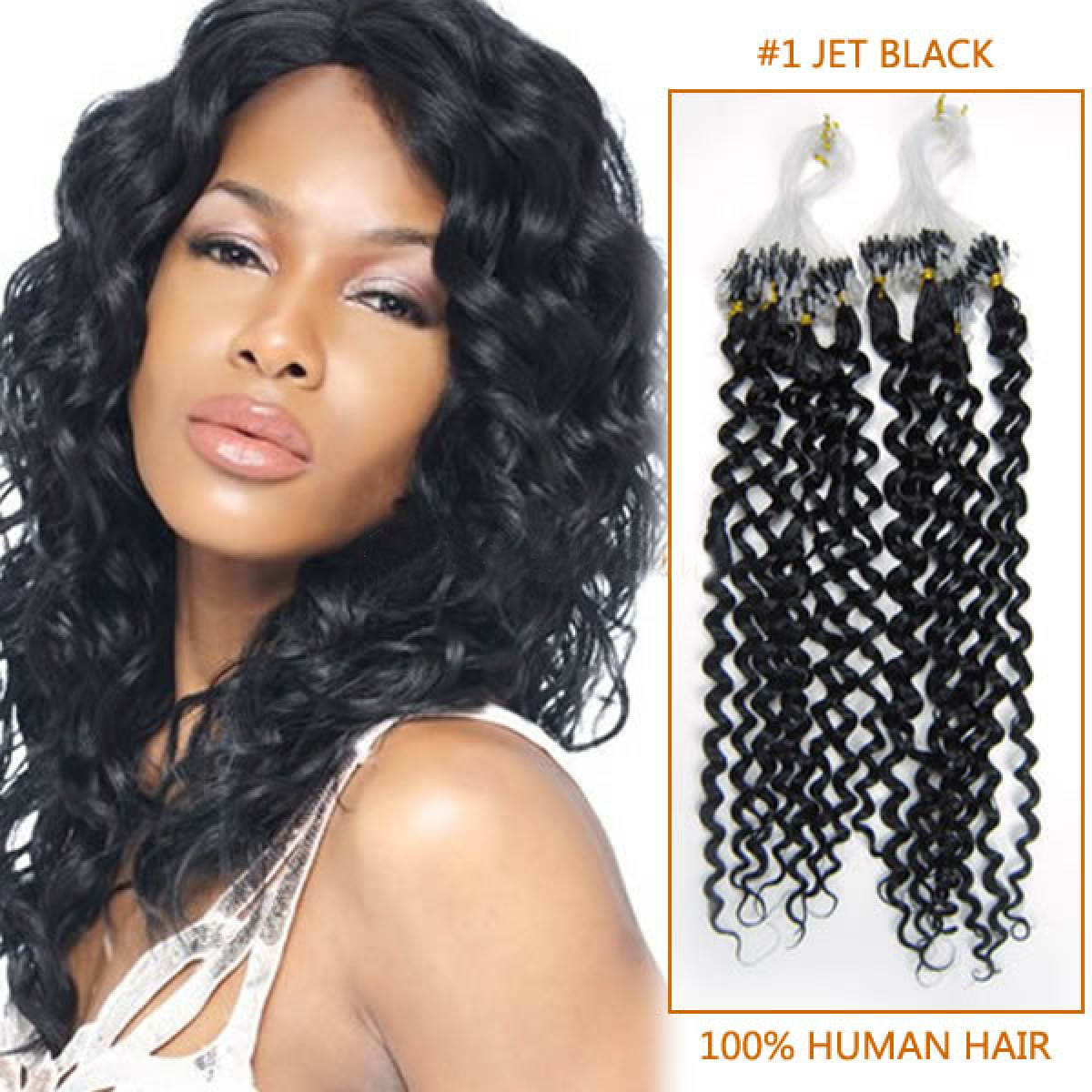 Fine 20 Inch #1 Jet Black Curly Micro Loop Hair Extensions 100 Strands