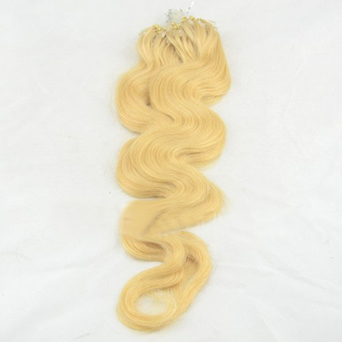 fine 34 inch  24 ash blonde body wave micro loop hair extensions 100 strands 21712 0v