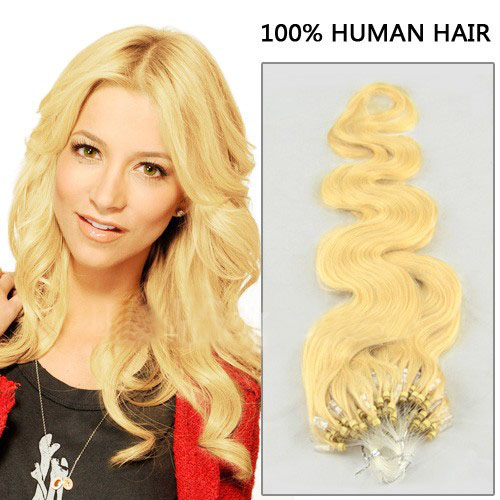 fine 34 inch  24 ash blonde body wave micro loop hair extensions 100 strands 21712 t