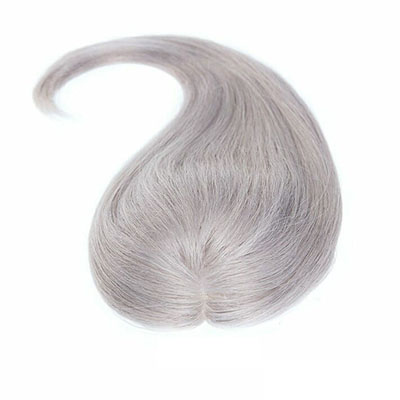Free Part Human Hair Topper Hair Piece Curly 14 x 14cm Silk Base Wiglet Hairpiece for Women with Thinning Hair