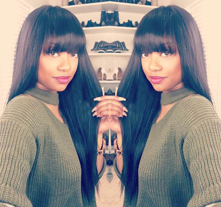 Full Bangs Glueless Lace Front Wigs Brazilian Virgin Human Hair Yaki Straight Wig With Bangs