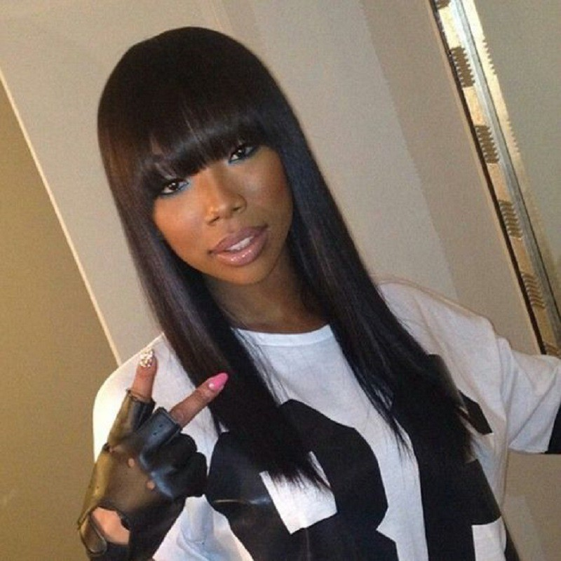 Full Bangs Lace Front Wigs Yaki Straight, Indian Remy Hair 0