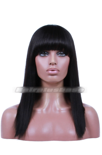 {10-15 business days processing time} Yaki Straight Indian Remy Hair Full Bangs Bob Glueless Non-lace Wigs With Natural Looking Silk Top Hair Whorl