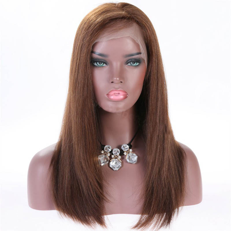 Full Lace Wigs #4/#30 Highlight Color Indian Remy Hair Yaki Straight Wig