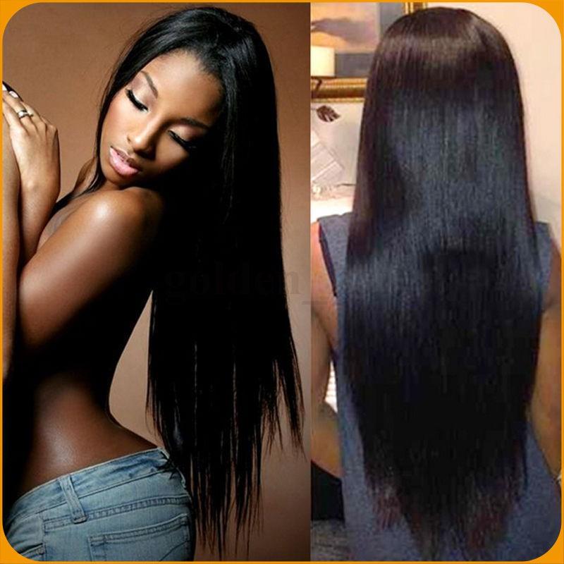 Full Lace Wigs Brazilian Virgin Hair Yaki Straight In Stock