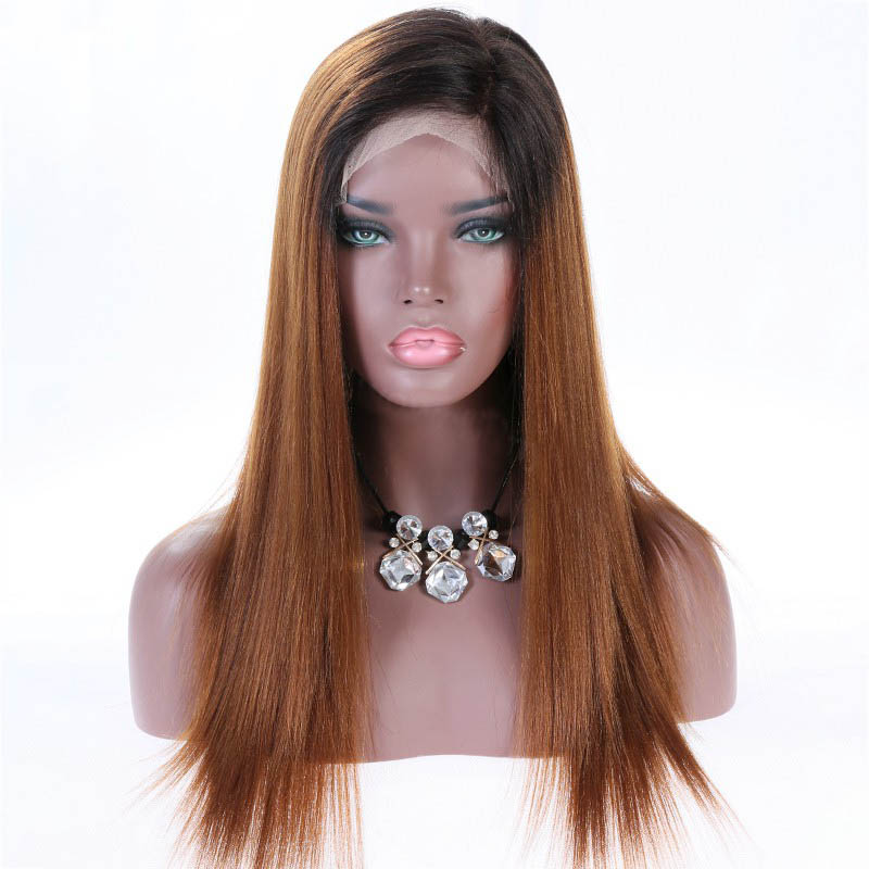 Full Lace Wigs Brown Ombre Wigs Malaysian Virgin Hair Yaki Straight