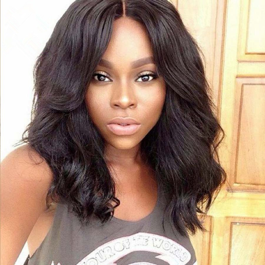 Full Lace Wigs Indian Remy Hair Body Wave Shoulder Length Bob