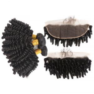 Fumi Hair Afro Kinky Curly Hair 3 Bundles With 13*4 Lace Frontal Short Hairstyles