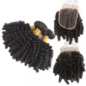 Fumi Hair Weave Afro Kinky Curly Hair 3 Bundles With 4*4 Lace Closure Short Hairstyles