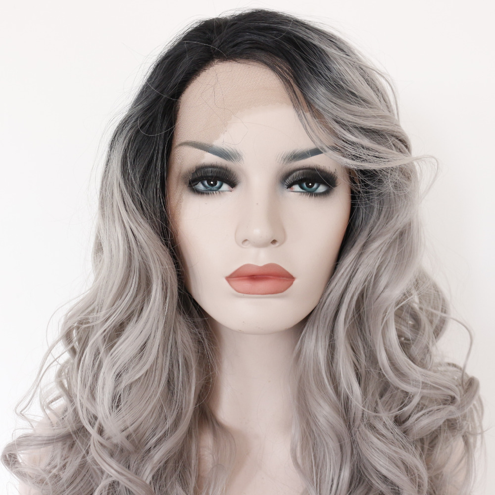 Glueless Black Boots Silver Grey Body Wave Synthetic Lace Front Wig 1