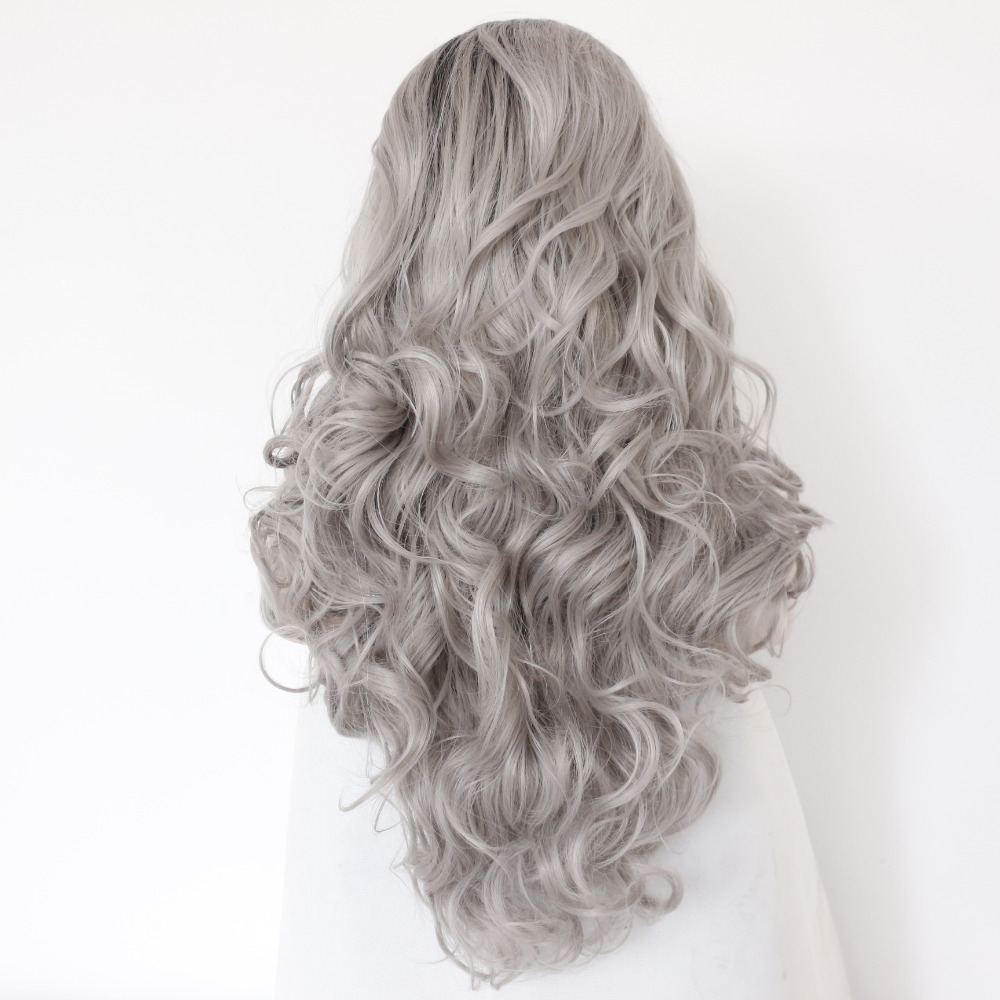 Glueless Black Boots Silver Grey Body Wave Synthetic Lace Front Wig 2