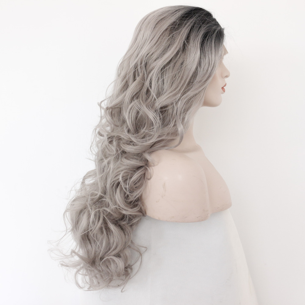 Glueless Black Boots Silver Grey Body Wave Synthetic Lace Front Wig 3